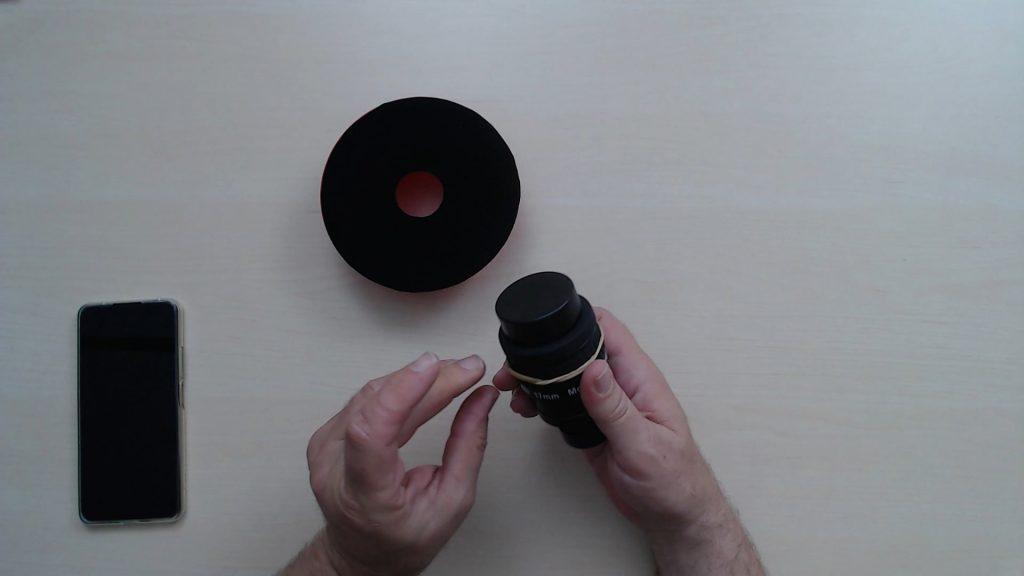 Gummis am Okular anbringen